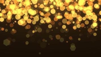 voar bokeh amarelo e dourado com glitter no céu noturno. feliz ano novo e feliz natal fundo brilhante