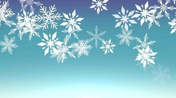 animering flyga vita snöflingor och abstrakta partiklar på blå semester bakgrund video