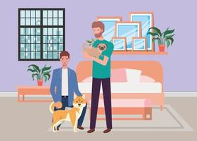 young men with cute dogs mascots in the bedroom vector