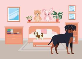 lindos perritos en el dormitorio vector