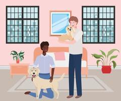 Hombres jóvenes interraciales con lindas mascotas perros en el dormitorio vector