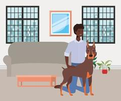 afro man with cute dog mascot in the livingroom vector