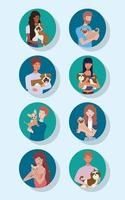 young people with cute dogs mascots characters vector