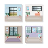 conjunto de escenas interiores de la casa. vector