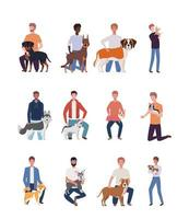 young men with cute dogs mascots characters vector