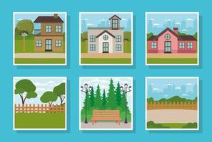 Conjunto de fachadas de casas y escenas de parques. vector