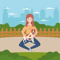 young woman with cute dog in the field vector