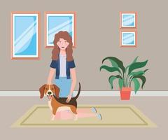 young woman with cute dog in the house room vector