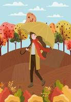 woman at the park with umbrella, autumn scene vector