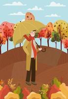 man at the park with umbrella, autumn scene vector