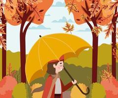 Girl at the park with umbrella, autumn scene vector