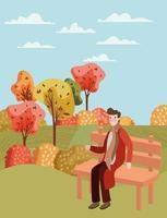 Man at the park, autumn scene vector