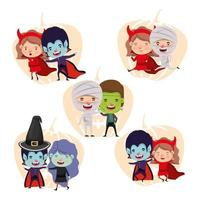 group of little kids in costumes for trick or treat vector