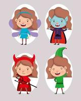 cute little girls in costumes vector