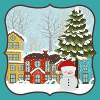 tarjeta de feliz navidad con muñeco de nieve vector