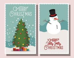 feliz navidad conjunto de tarjetas vector