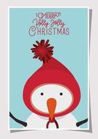 tarjeta de feliz navidad con personaje de muñeco de nieve vector
