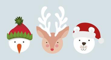 lindos personajes navideños vector