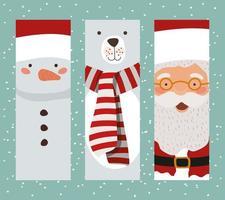 lindo juego de tarjetas de personajes navideños vector