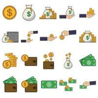 financial icon set template vector