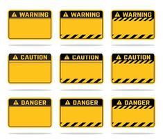 yellow warning danger caution template vector