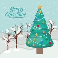 tarjeta de feliz navidad con pino vector