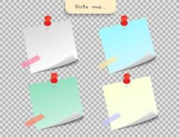 Paper note and office elements. Reminder object concept. vector