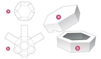 Plantilla troquelada de bandeja y tapa hexagonal vector