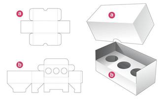 Insert cosmetic box and lid die cut template vector