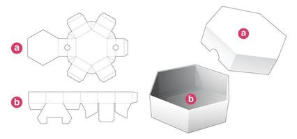 Short hexagonal shaped box and lid die cut template vector