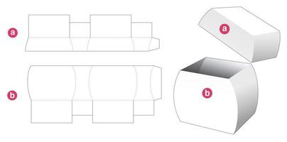 Curved side box with lid die cut template vector
