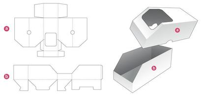 Chamfered box and lid which has window  die cut template vector