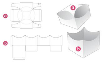 Gift box and curved top lid die cut template vector