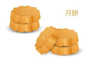 Moon cake elements. Chinese full moon day. vector