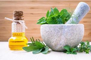 Essential oil and fresh herbs in a mortar photo