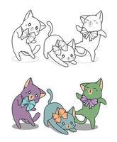 gatos kawaii con moños, página para colorear de dibujos animados para niños vector