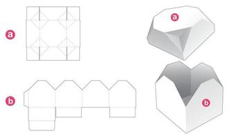 Gift box and chamfered octagonal lid die cut template vector