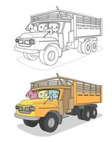 Kawaii cats in the truck, cartoon coloring page for kids vector