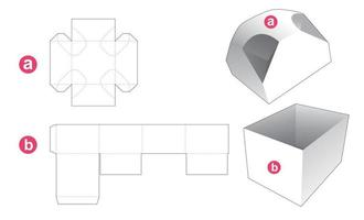 Gift box and 4 chamfered corners lid die cut template vector