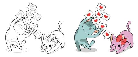 lindo gato está mostrando tarjetas de amor a su novia, página para colorear para niños vector
