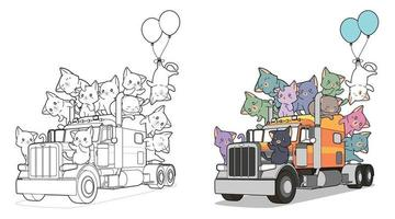 Cute cats on the truck, coloring page for kids