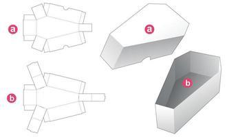 Plantilla troquelada de tazón y tapa en forma de ataúd vector