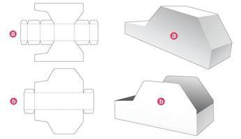 Cardboard car shaped box and lid die cut template vector