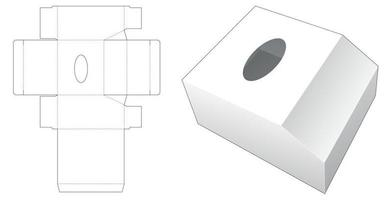Chamfered tissue box die cut template vector