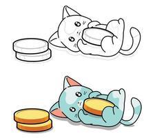 lindo gato ama las monedas página para colorear para niños vector