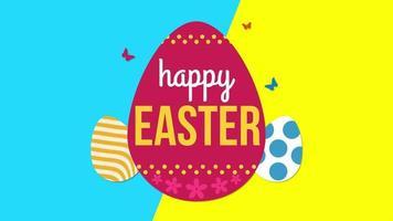 animierte Nahaufnahme glücklich Ostern Text und Eier auf blauem und gelbem Schwindel video