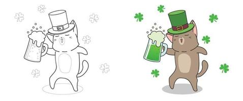 Cute cat on Saint Patrick day coloring page for kids vector