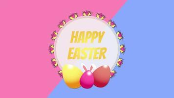 animierte Nahaufnahme glücklich Ostern Text und Eier auf blauem und rosa Schwindelhintergrund video