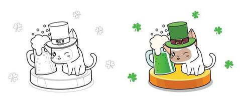 Cat on Saint Patrick day coloring page for kids vector