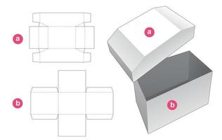 Chest shaped box and lid die cut template vector